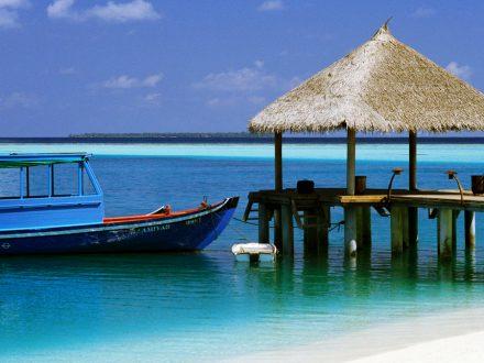 Boat Tied to Dock ca. 2000 Maldives